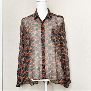 Anthropologie Sheer Floral Print Button Down